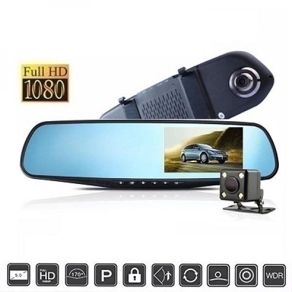 Авторегистратор в огледало, с втора изнесена камера, 1080p, модел T22