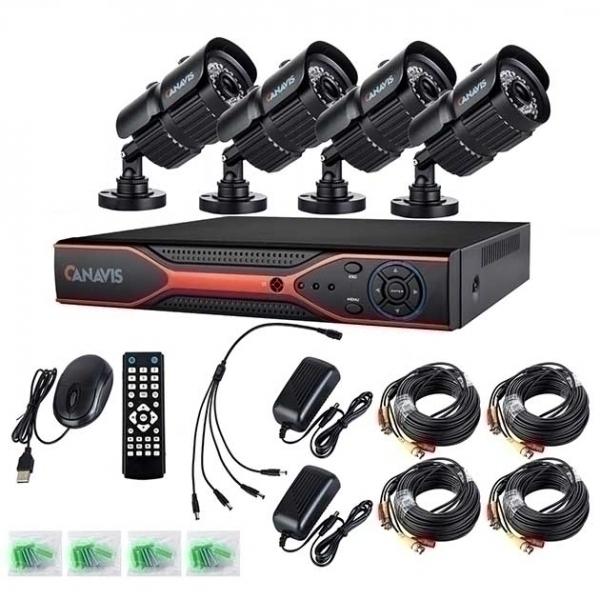 Комплект Canavis - 4 Булетни камери с DVR, 1MPX, 720p, HD